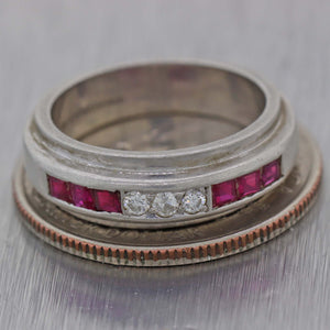 1930s Antique Art Deco Platinum .45ctw Square Baguette Ruby Diamond Band Ring