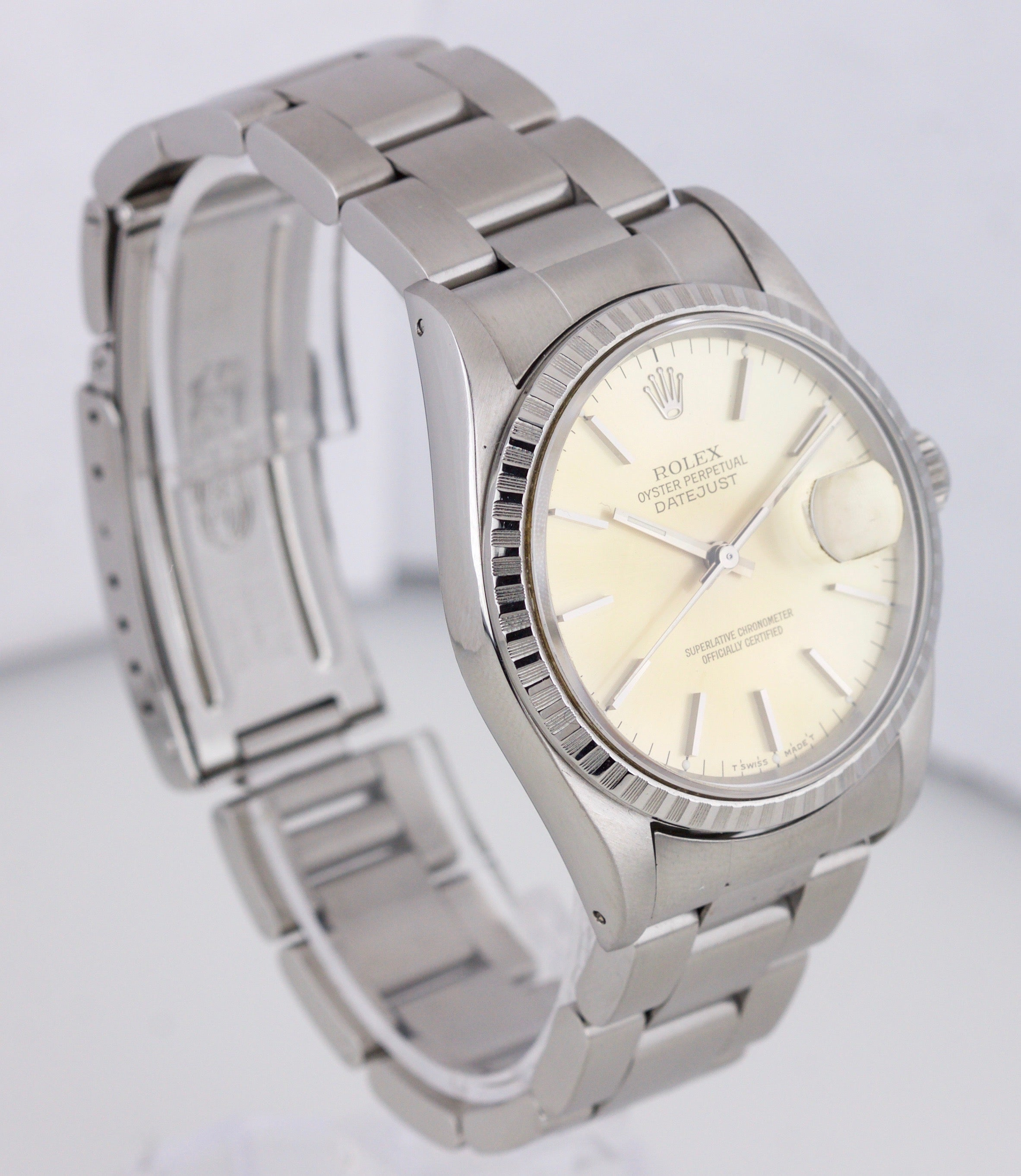 1994 Rolex DateJust Silver Tone Patina 36mm S 16220 Stainless Steel Oyster Watch