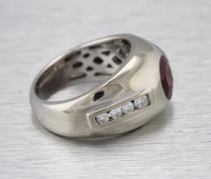 Men's Vintage Estate 14K White Gold 1.26ctw Ruby Diamond Statement Ring