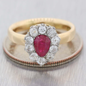 1880 Antique Victorian 18k Yellow Gold Platinum .95ctw Ruby Diamond Cluster Ring