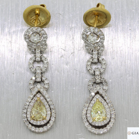 Pear Shape 0.66ct 0.61ct GIA Yellow Diamond 18k White Gold 3.27ct Dangle Earring