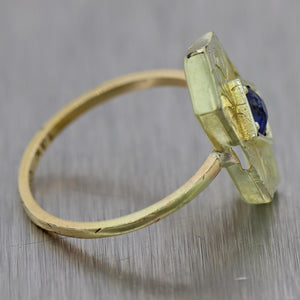 1890's Antique Victorian 14k Yellow Gold Engraved 0.25ct Sapphire Ring