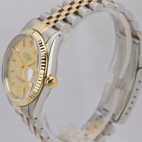 Rolex DateJust 36mm 16013 Two-Tone Yellow Gold Stainless Champagne Jubilee Watch
