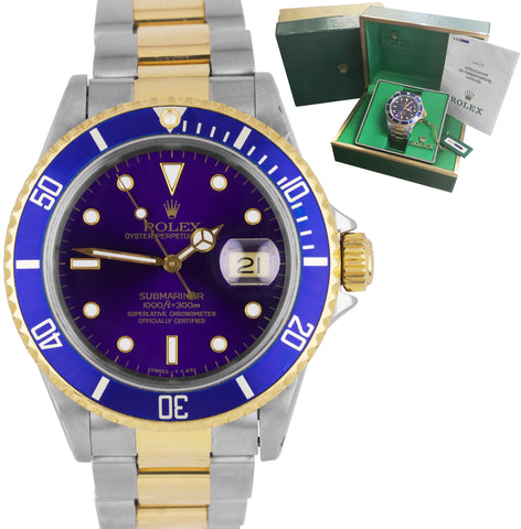 1994 PURPLE Rolex Submariner 16613 Two-Tone Gold Stainless Steel 40mm Blue Watch