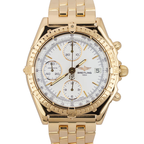 Breitling Chronomat 18K Yellow Gold 40mm White Chronograph Date Watch H13047X