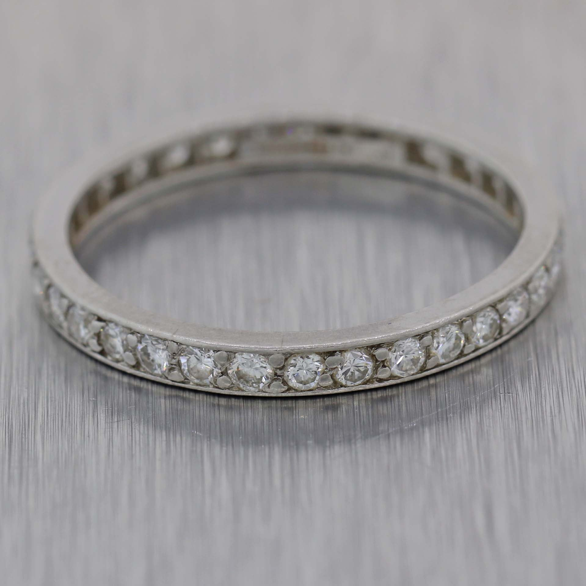 9266e7f97 Antique Art Deco Tiffany & Co. Platinum .70ct Diamond Eternity Wedding Band  Ring