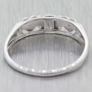Vintage Estate 14k White Gold Love Heart .03ctw Diamond 3 Stone Band Ring