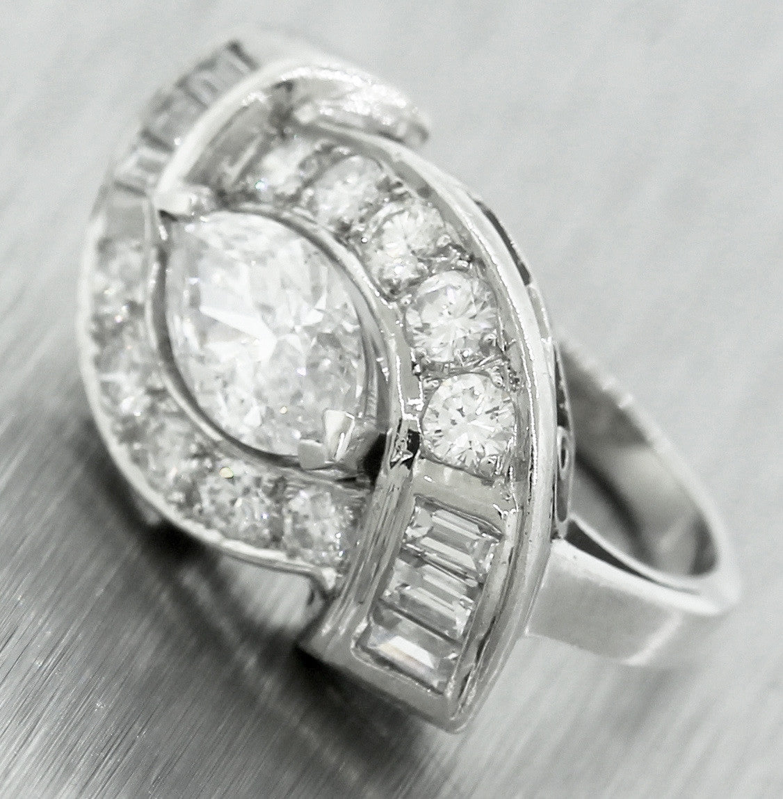 Ladies Vintage Estate Platinum 1.12ct Marquise Brilliant Diamond Engagement Ring