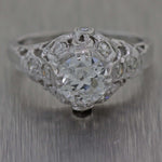 1930s Antique Art Deco Estate 18k White Gold 1.10ctw Diamond Engagement Ring