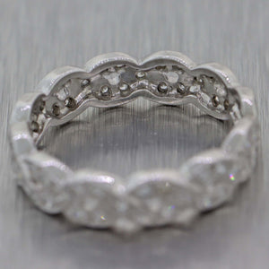 Vintage Platinum .65ctw Diamond Pave Infinity Twist 4mm Eternity Band Ring