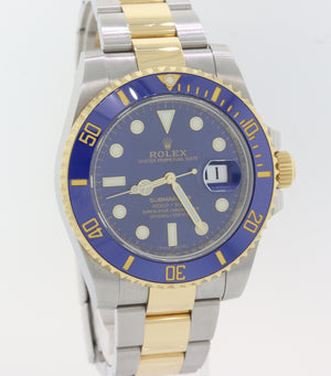 2018 Rolex Submariner Date Ceramic 116613 LB Two Tone Gold Blue Dive Watch S8