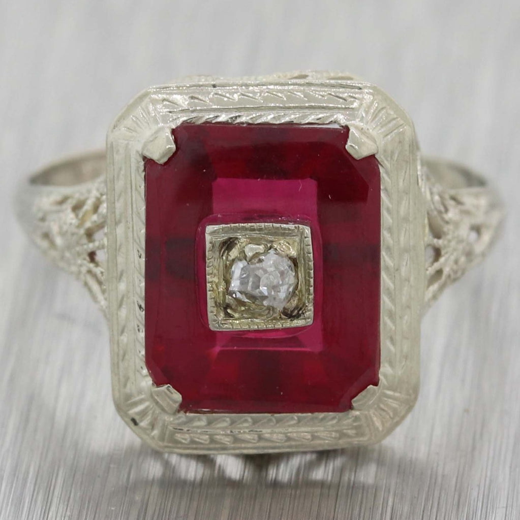a594d6705034 1930 Antique Art Deco 14k White Gold Filigree Diamond Red Glass Cocktail  Ring A8