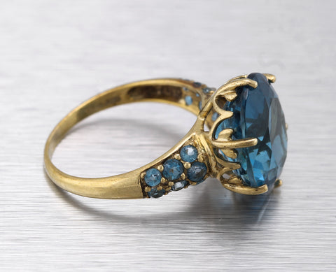 Lovely Ladies 10K Yellow Gold 7.95ctw London Blue Topaz Gemstone Cocktail Ring
