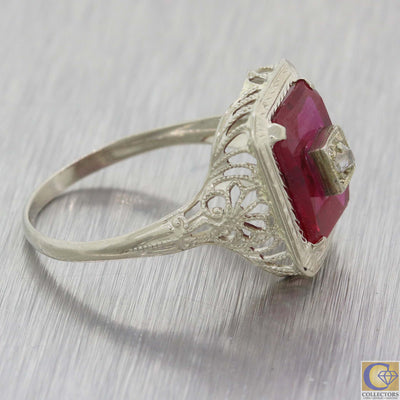 1930 Antique Art Deco 14k White Gold Filigree Diamond Red Glass Cocktail Ring A8