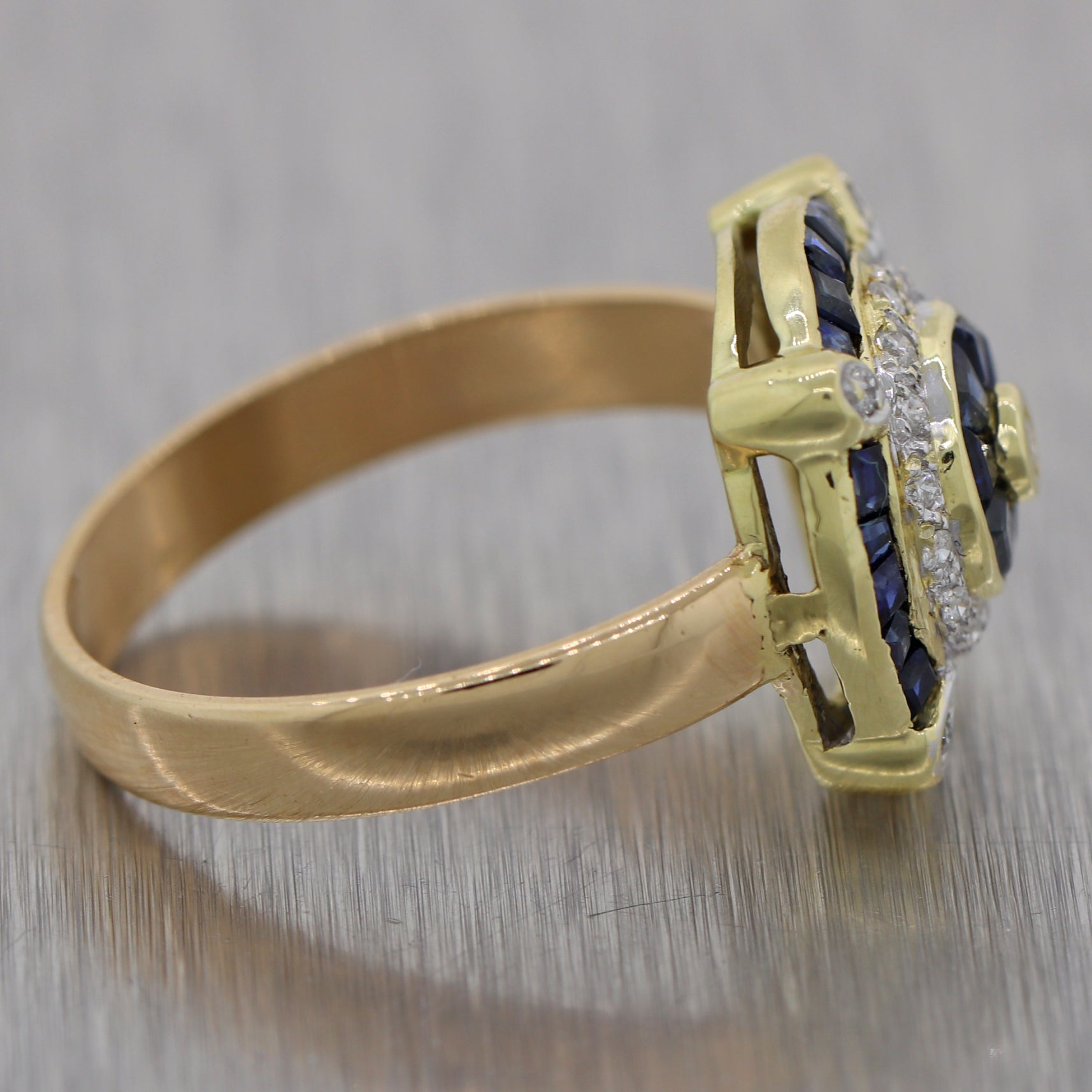 Vintage Estate 18k Yellow Gold Art Deco Style 0.75ctw Sapphire & Diamond Ring