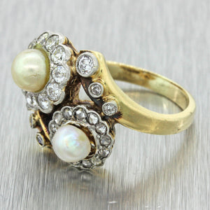 1930s Antique Art Deco 14k Solid Yellow Gold Double Pearl Diamond Ring