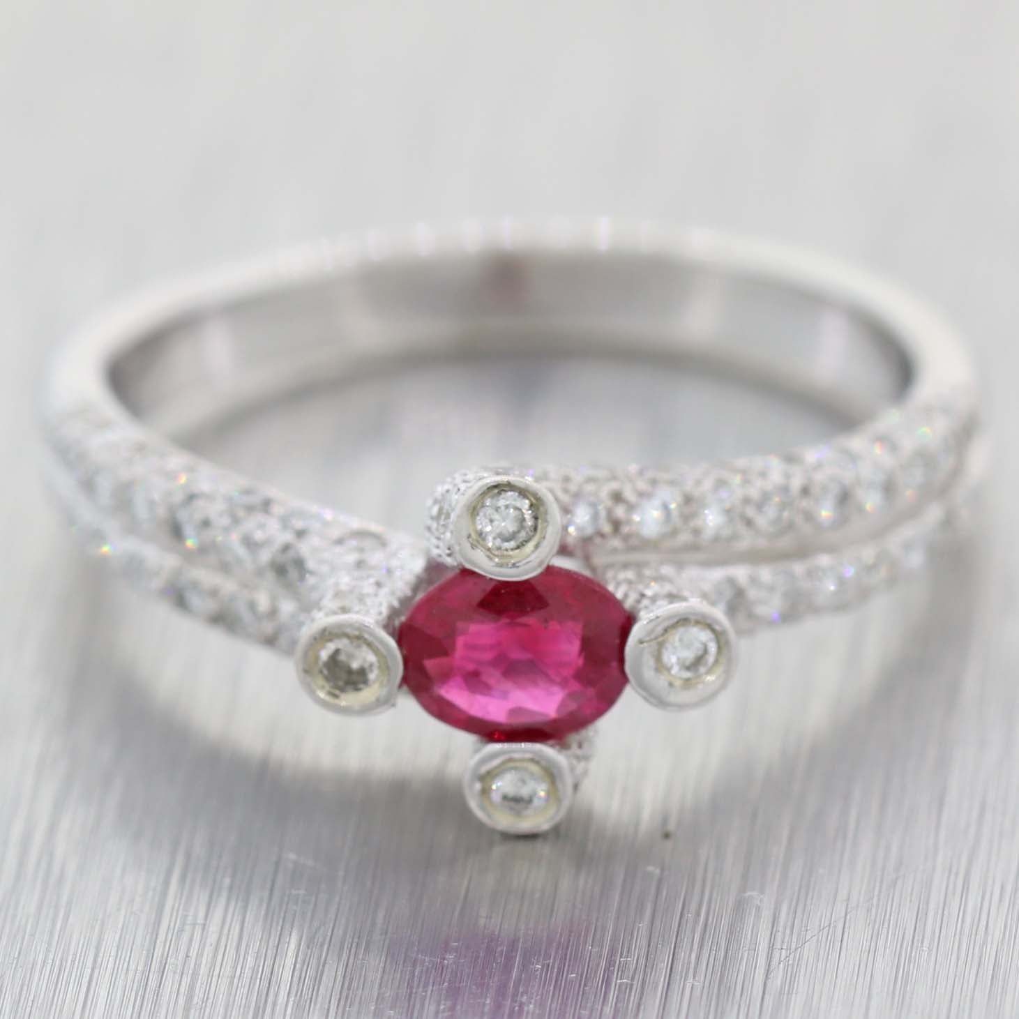 Modern Estate Solid 14k White Gold .40ct Diamond Ruby Ring