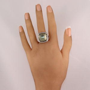 David Yurman Sterling Silver Green Prasiolite & Diamond Albion Ring