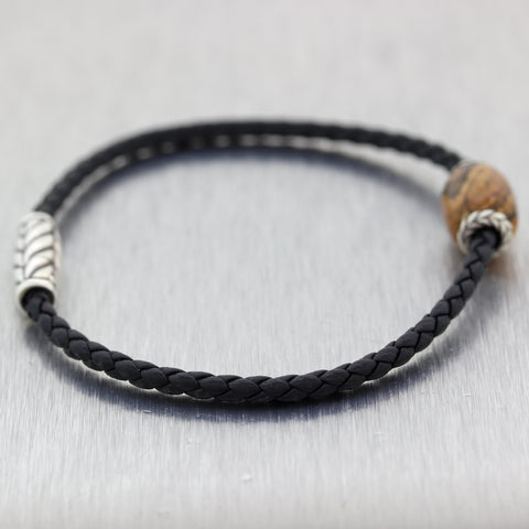 David Yurman Sterling Silver Ojime Quartz Black Braided Leather Bracelet