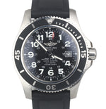 Men's Breitling SuperOcean II 44 Stainless Steel 44mm Black Rubber Watch A17392