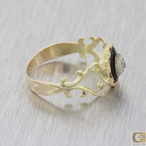 1880s Antique Victorian 14k Yellow Gold Sterling Silver Diamond Cocktail Ring A8