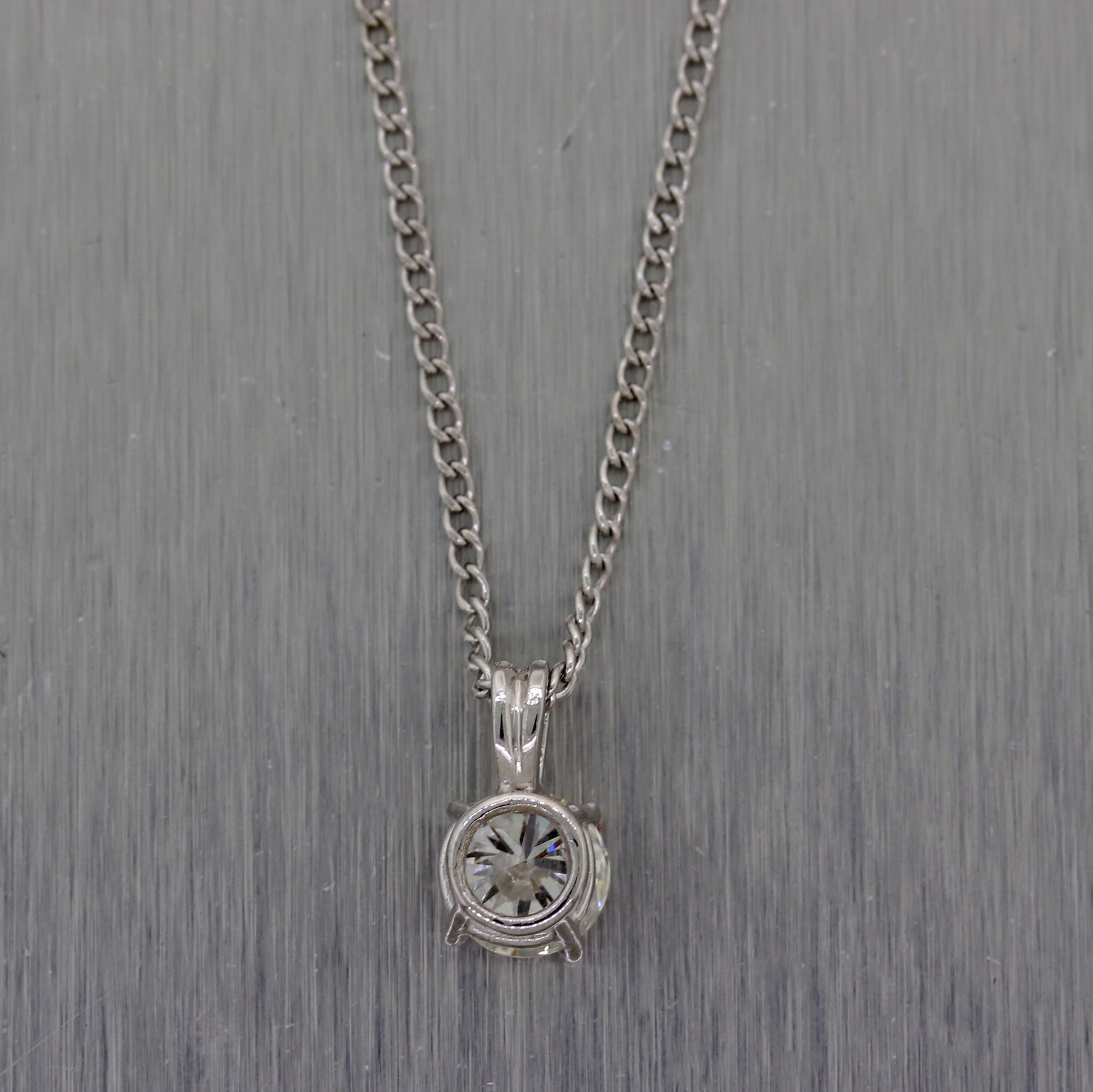 "Modern 14k White Gold Solitaire 0.75ct Diamond Pendant 18"" Necklace"
