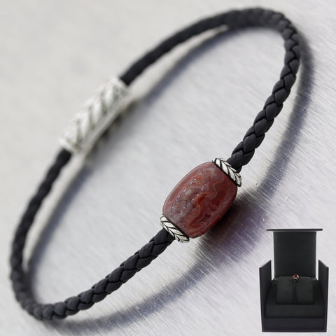 David Yurman Sterling Silver Ojime Agate Black Braided Leather Bracelet