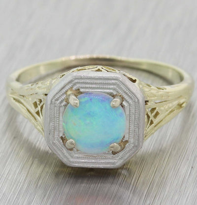 1930s Antique Art Deco Estate 14k Yellow Gold 6.25mm Fire Opal Ring A8