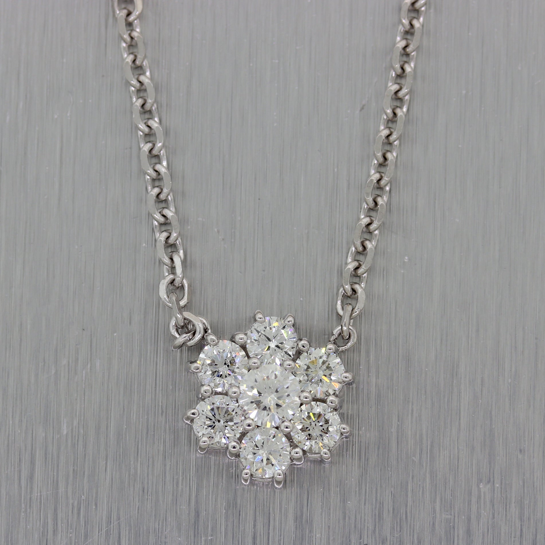 "Modern 14k White Gold 1.60ctw Diamond Cluster 16"" Necklace"