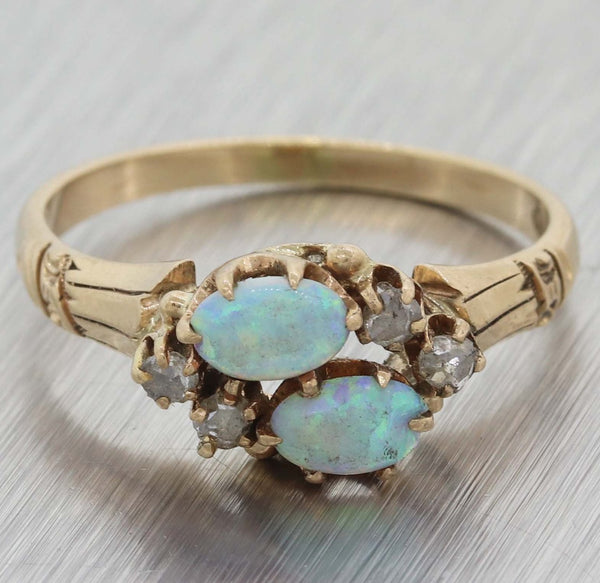 1880s Antique Victorian Estate Solid 14k Rose Gold Diamond Fire Opal Ring A8