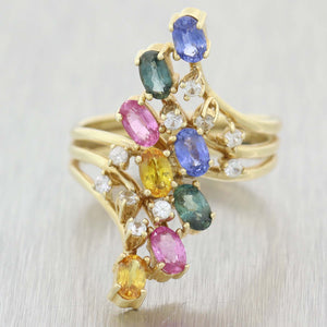 Vintage Estate 14k Yellow Gold Multi-color Sapphire .25ct Diamond Cocktail Ring