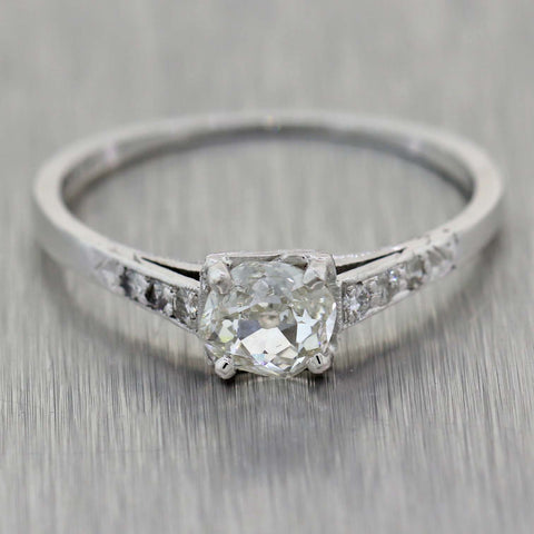 1920s Antique Art Deco Platinum .56ctw Old Mine Diamond Engagement Ring EGL