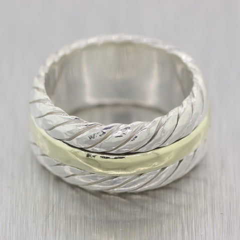 Vintage Estate David Yurman Sterling Silver & 14k Yellow Gold Cable Wedding Band