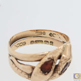 1880s Antique Victorian 9ct English Rose Gold Double Snake Head Garnet Ring A8