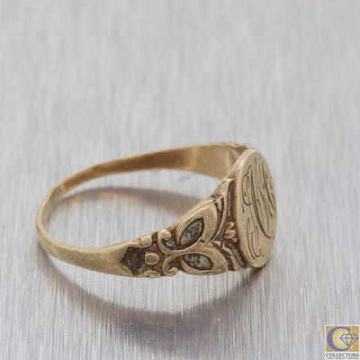 1880s Antique Victorian 10k Yellow Gold Signet Ring A8