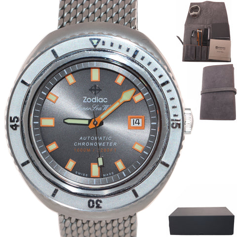 NEW PAPERS Zodiac Super Sea Wolf 68 50th Anniversary 44mm ZO9507 Steel Watch