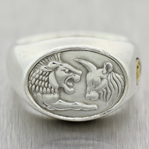 David Yurman Sterling Silver & 22k Yellow Gold Petrvs Goat & Lion Signet Ring