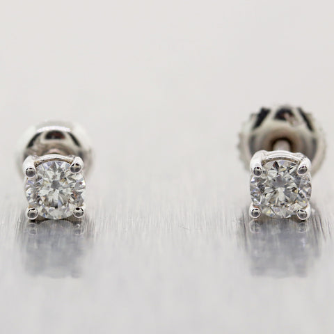 Modern 14k White Gold 0.50ctw Diamond Stud Earrings