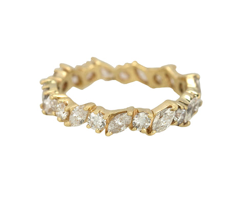 14K Yellow Gold 2 CT Marquise & Round Cut Diamond Eternity Wedding Band Ring