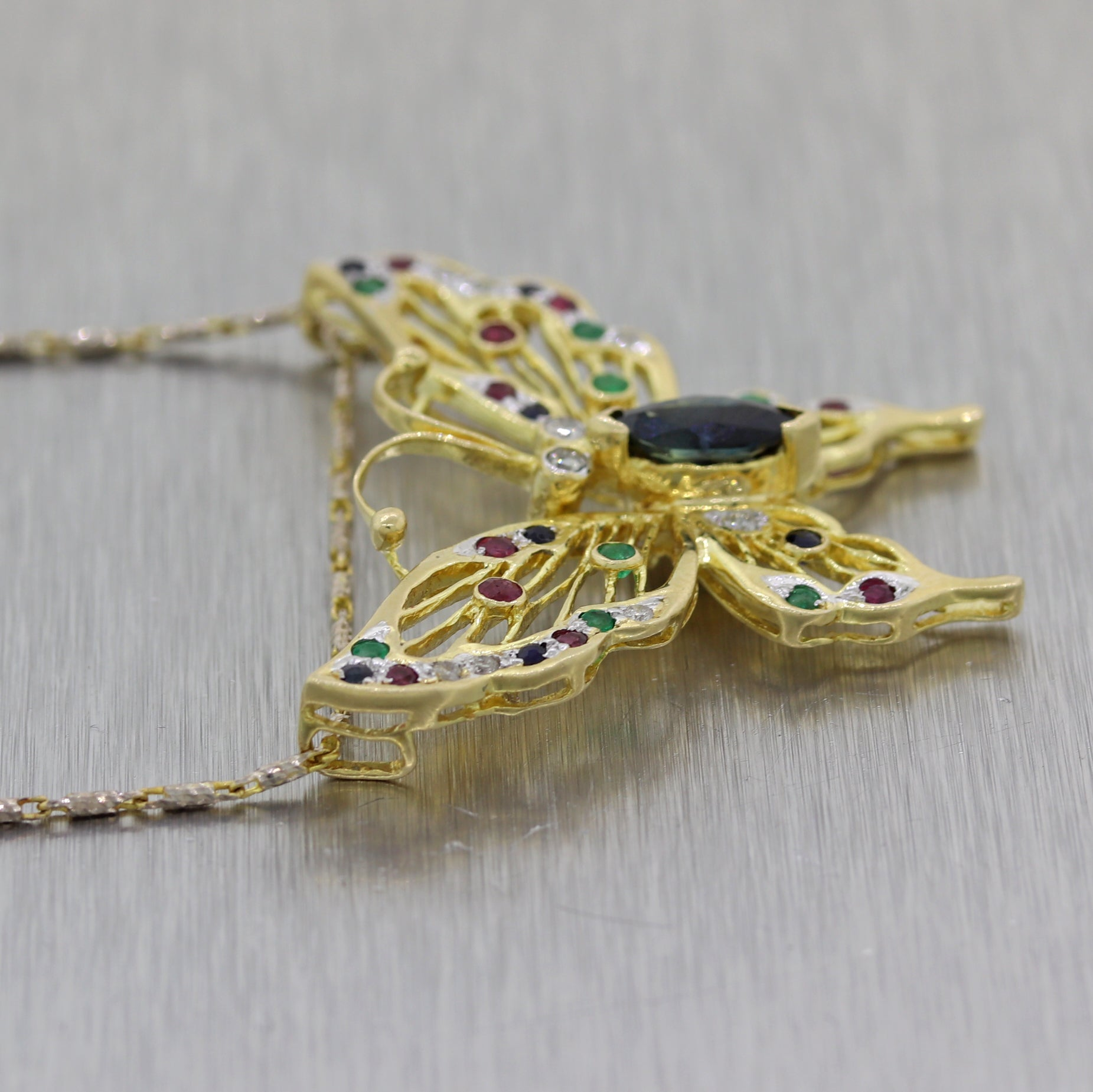"Vintage Estate 14k Yellow Gold Multi Stone Butterfly 18"" Necklace"