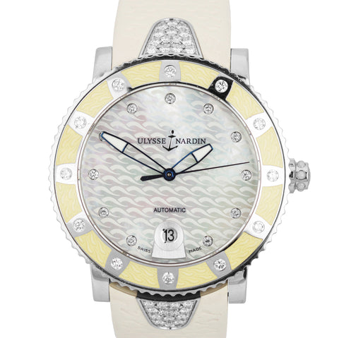 Ladies Ulysse Nardin Marine Lady Diver Lady Steel Diamond Watch 8103-101E-3C/10