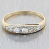 1930s Antique Art Deco 14k Yellow Gold .25ctw 5 Stone Diamond Band Ring