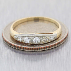 1930s Antique Art Deco 14k Yellow Gold .25ctw 5 Stone Diamond 3mm Band Ring