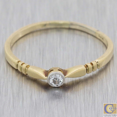 1880s Antique Victorian 18k Gold Solitaire Diamond Band Ring