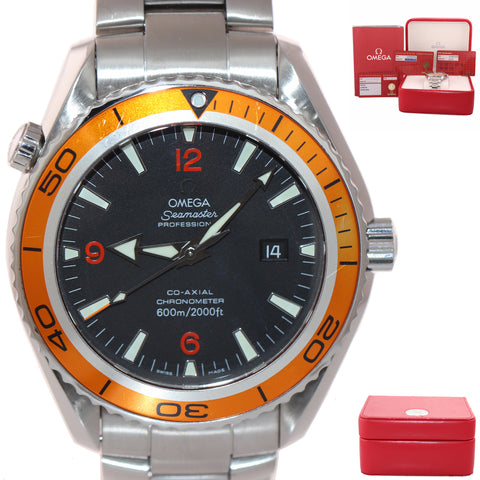 MINT Omega Seamaster Planet Ocean XL Orange 45.5mm Co-Axial 2208.50.00 Watch