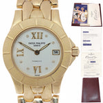 Ladies Patek Philippe Tiffany & Co Neptune 18k Yellow Gold 4881 Date Watch Papers