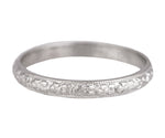 1930's Antique Art Deco Platinum 3mm Floral Engraved Milgrain Wedding Band Ring