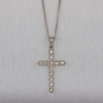 1920s Antique Art Deco 14k White Gold Platinum Diamond Cross Pendant Necklace