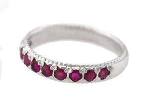 Ladies 14K White Gold 0.20ctw Ruby Stackable Wedding Anniversary Band Ring