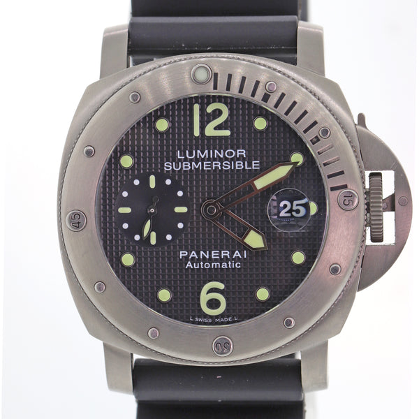 Panerai PAM 25 Luminor Submersible Black Auto Titanium 44mm Watch PAM00025 N8
